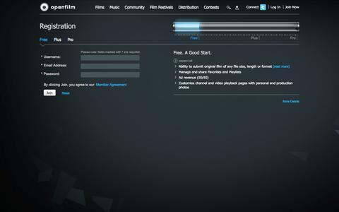 Screenshot of Signup Page openfilm.com - Registration - captured Oct. 29, 2014