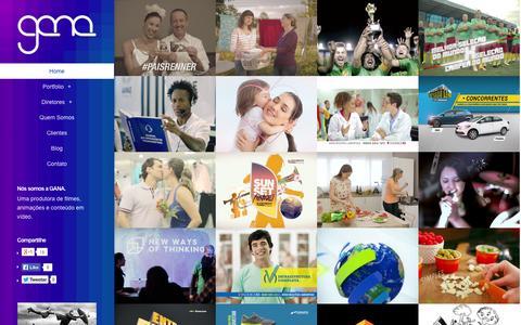 Screenshot of Home Page ganaprodutora.com.br - Gana | Produtora de Filmes, Animações e Conteúdo Transmídia - captured Sept. 26, 2014
