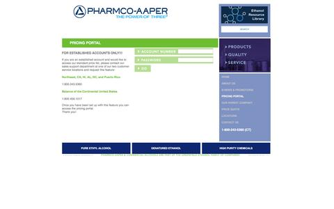 Screenshot of Pricing Page pharmcoaaper.com - Pharmco-AAPER and Commercial Alcohols :: Pricing Portal Login -- A wholly owned subsidiary of GreenField Ethanol - our unified product line offers the most extensive portfolio of pure and denatured ethanol products found anywhere in the World! - captured Dec. 6, 2015
