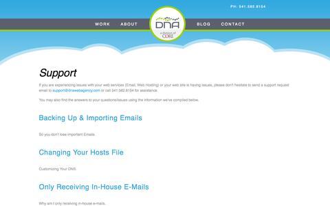 Screenshot of Support Page dnawebagency.com - Support | DNA Web Agency - captured Sept. 19, 2014