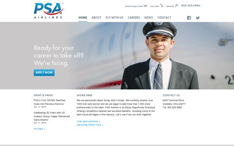Screenshot of Home Page psaairlines.com - PSA Airlines | Regional Airline & US Airways Subsidiary - captured July 18, 2014