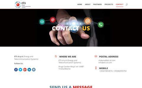 Screenshot of Contact Page ets-al.com - Contact - captured July 11, 2017