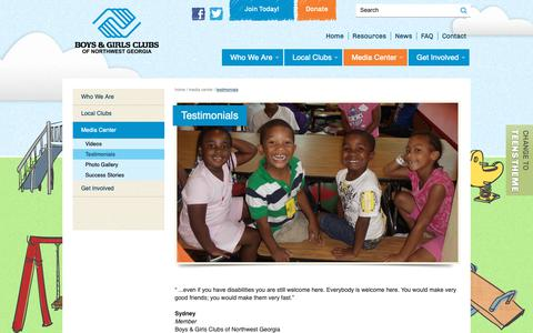 Screenshot of Testimonials Page bgcnwga.org - Testimonials | Boys & Girls Clubs of Northwest Georgia - captured Oct. 6, 2018