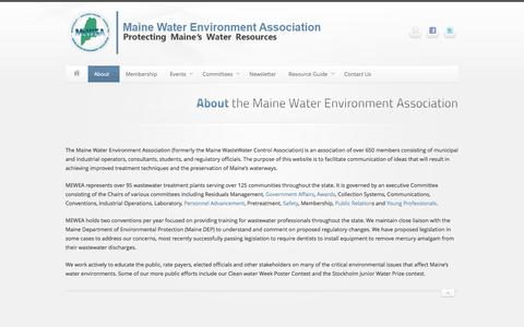 Screenshot of About Page mewea.org - About the Maine Water Environment Association    Maine Water Environment Association - captured Nov. 2, 2014