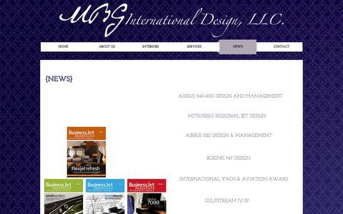 Screenshot of Press Page mbginternationaldesign.com - Private Aircraft Interior Design - captured Nov. 17, 2016