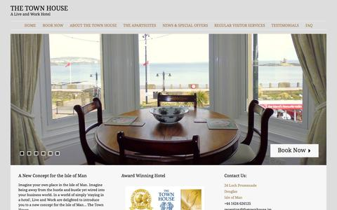 Screenshot of Home Page liveandwork.im - The Town House | A Live and Work Hotel - captured Oct. 3, 2014