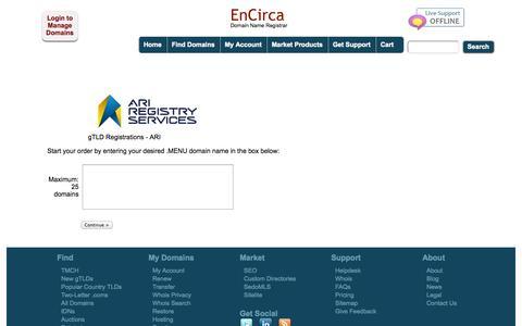 Screenshot of Menu Page encirca.com - Encirca: Bulk Register ARI - captured Sept. 19, 2014