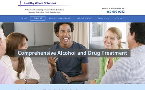 Screenshot of Services Page healthywholesolutions.com - DRUG AND ALCOHOL TREATMENT - captured Sept. 9, 2017
