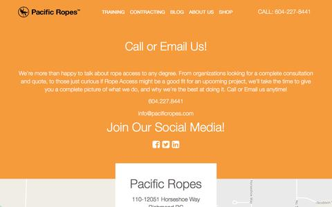 Screenshot of Contact Page pacificropes.com - Call or Email Us! - captured Oct. 17, 2016