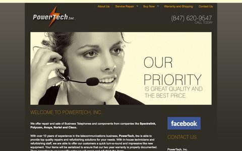 Screenshot of Home Page powertechinc.net - PowerTech, Inc.-Spectralink-Polycom-Avaya-Nortel-Cisco Repair Service - captured June 22, 2015