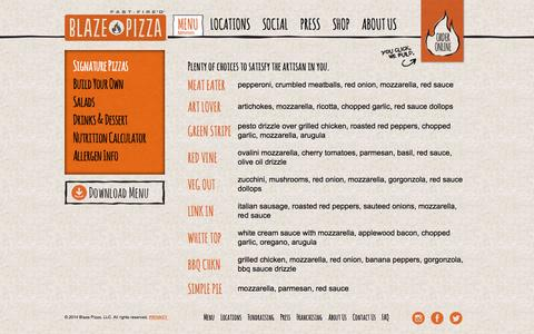 Screenshot of Menu Page blazepizza.com - Menu - Blaze Pizza - captured Sept. 23, 2014