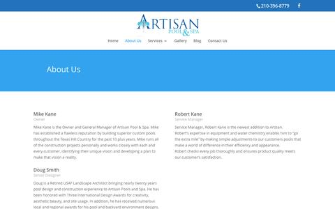 Screenshot of About Page artisanpoolandspa.com - We Strive For Greatness In Pool Creation - Artisan Pool And Spa - captured Nov. 21, 2016