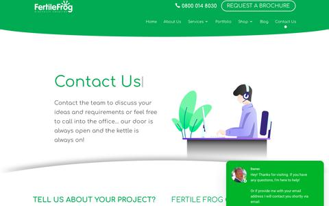 Screenshot of Contact Page fertilefrog.com - Contact The Fertile Frog Team - Telephone, Email & Location - captured Aug. 14, 2019