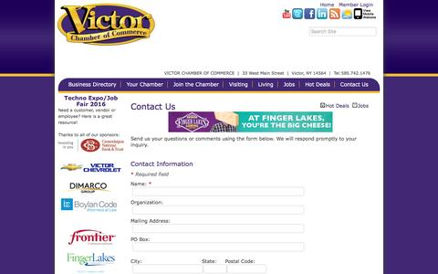 Screenshot of Contact Page victorchamber.com - Contact Us - Victor Chamber of Commerce,NY - captured Dec. 21, 2016