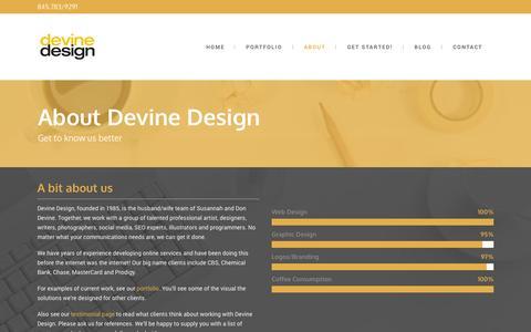 Screenshot of About Page devinedesign.net - Devine Design Hudson Valley Website Design Graphic Design Orange County NY - captured Nov. 3, 2014