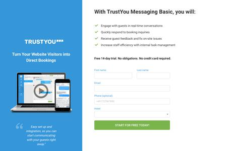 Screenshot of Signup Page trustyou.com - TrustYou Messaging - captured Dec. 11, 2018