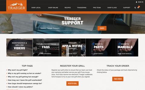 Screenshot of Support Page traegergrills.com - Traeger Support   Traeger Wood Fired Grills - captured Feb. 5, 2019