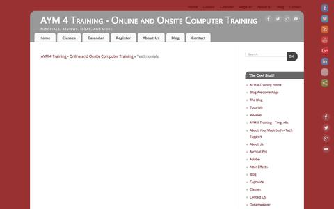 Screenshot of Testimonials Page aym4training.com - Testimonials – AYM 4 Training – Online and Onsite Computer Training - captured July 28, 2018