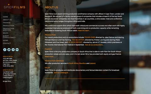 Screenshot of About Page spierfilms.com - ABOUT US – Spier Films - captured Oct. 1, 2014
