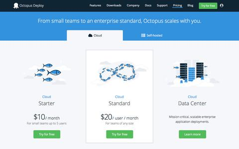 Screenshot of Pricing Page octopus.com - Octopus Cloud Pricing - Octopus Deploy - captured Sept. 22, 2018