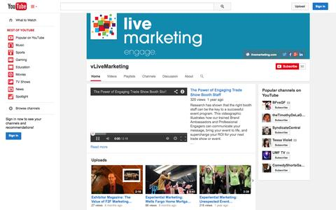Screenshot of YouTube Page youtube.com - vLiveMarketing  - YouTube - captured Oct. 22, 2014