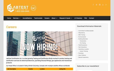Screenshot of Jobs Page labtestcert.com - Careers | - captured Oct. 2, 2018