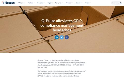 Screenshot of Case Studies Page ideagen.com - Q-Pulse alleviates GPL's compliance management headaches | Ideagen Plc - captured Nov. 29, 2019
