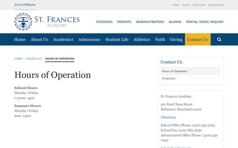 Screenshot of Hours Page sfacademy.org - Hours of Operation | Saint Frances Academy - captured March 31, 2017