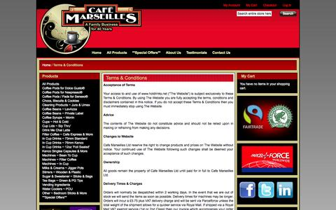 Screenshot of Terms Page hotdrinks.net - Terms & Conditions from Café Marseilles - captured Oct. 1, 2014