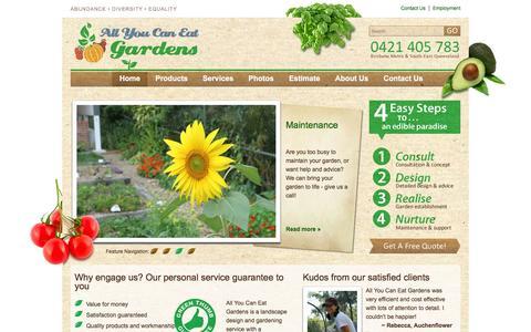 Screenshot of Home Page allyoucaneatgardens.com.au - All You Can Eat Gardens - captured Dec. 24, 2015