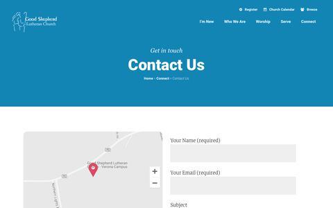 Screenshot of Contact Page gslcwi.com - Contact Us | Good Shepherd Lutheran Church - captured Sept. 29, 2018