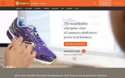 Screenshot of Home Page magento.com - Ecommerce Software & Ecommerce Platform Solutions | Magento - captured July 11, 2014