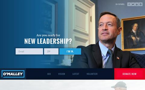 Screenshot of Home Page martinomalley.com - Home - Martin O'Malley for President - captured Aug. 6, 2015