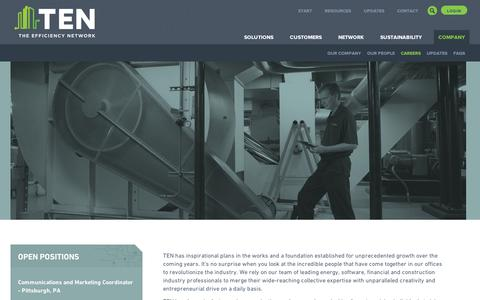 Screenshot of Jobs Page tensaves.com - Careers | The Efficiency Network (TEN) - captured Sept. 11, 2014