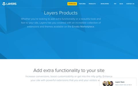 Screenshot of Products Page layerswp.com - Extensions | Layers - captured Nov. 17, 2015