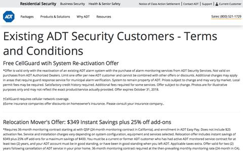 Terms & Conditions for Existing Customers - ADT Security Services