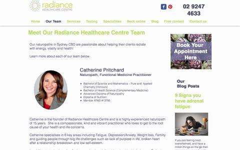 Screenshot of Team Page radiancecentre.com.au - Naturopath in Sydney   Radiance Healthcare   Sydney CBD - captured Oct. 19, 2017