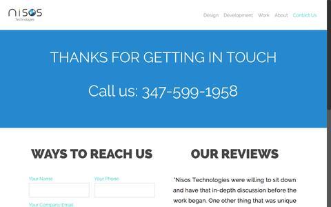 Screenshot of Contact Page nisostech.com - Nisos Technologies - UI & UX design company - captured Dec. 8, 2015