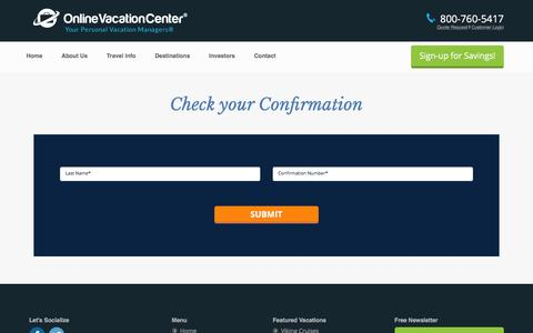 Screenshot of Login Page onlinevacationcenter.com - Online Vacation Center | Check your Itinerary - captured Jan. 10, 2016
