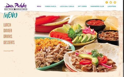 Screenshot of Menu Page donpablos.com - Menu - Don Pablos - captured Aug. 2, 2016