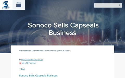 Screenshot of Press Page sonoco.com - Sonoco Sells Capseals Business | Sonoco - captured Nov. 5, 2019