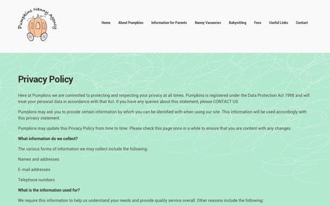 Screenshot of Privacy Page pumpkinsnannyagency.co.uk - Pumpkins Nanny Agency | Privacy Policy - captured Sept. 30, 2014