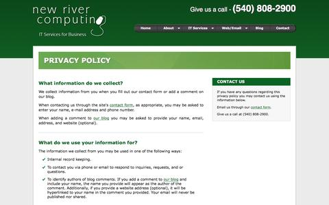 Screenshot of Privacy Page newrivercomputing.com - Privacy Policy - New River Computing - captured Feb. 26, 2016