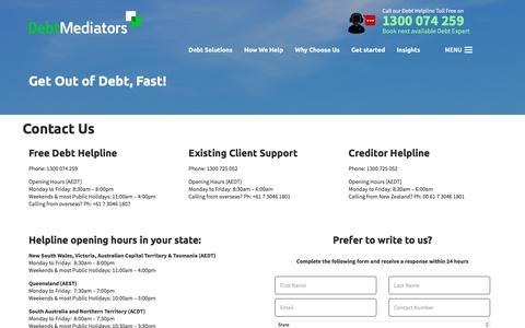 Screenshot of Contact Page debtmediators.com.au - Contact Us for Debt Relief | Debt Mediators - captured Nov. 23, 2016