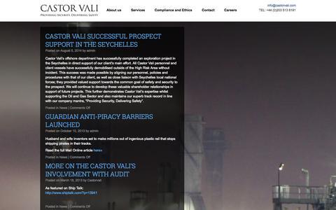 Screenshot of Press Page castorvali.com - News | Castor Vali : Providing Security  |  Delivering Safety - captured Sept. 29, 2014