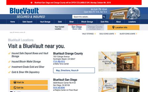 Screenshot of Contact Page Locations Page bluevaultsecure.com - BlueVault Locations | Visit a BlueVault Near You - captured Oct. 6, 2018