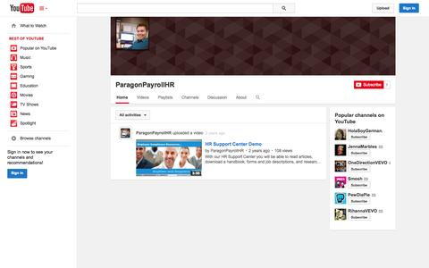 Screenshot of YouTube Page youtube.com - ParagonPayrollHR  - YouTube - captured Oct. 22, 2014
