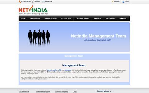 Screenshot of Team Page netindia.net - Management Team - NetIndia - captured Sept. 30, 2014