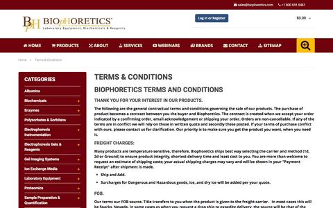 Screenshot of Terms Page biophoretics.com - Terms & Conditions By Biophoretics. - captured Jan. 4, 2016