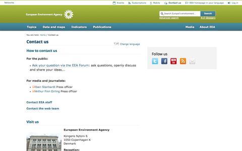 Screenshot of Contact Page europa.eu - Contact us   —    European Environment Agency (EEA) - captured Sept. 19, 2014